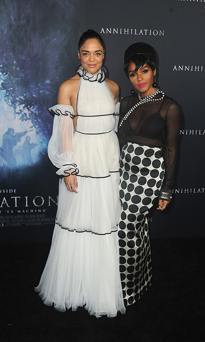 Tessa Thompson and Janelle Monae colour coordinated for the <em>Annihilation</em> premier in California on Feb. 13.