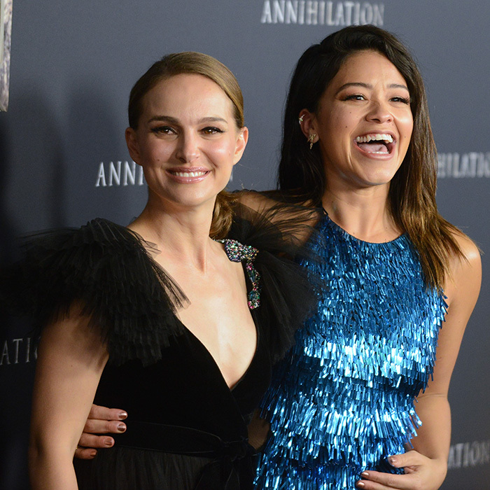 Natalie Portman and Gina Rodriguez shared a laugh at the <em>Annihilation</em> premier on Feb. 13.