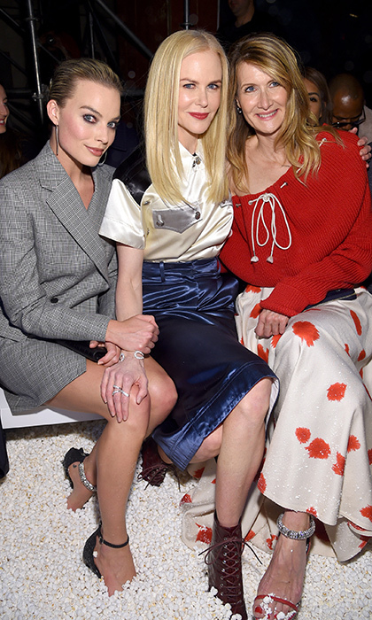 Can you say #SquadGoals? Nicole Kidman and Laura Dern - just two of our favourites from <em>Big Little Lies</em> - and the gorgeous Margot Robbie posed together front row for Calvin Klein's show.