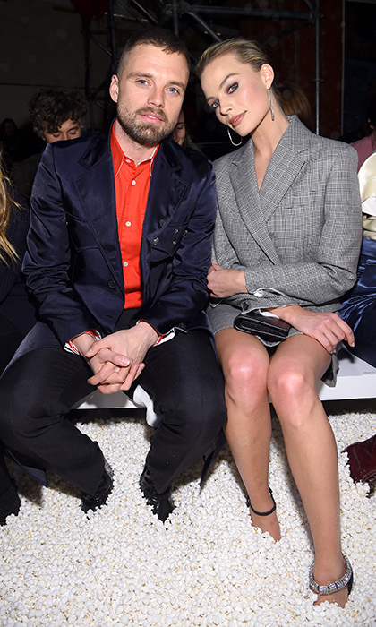 Actor Sebastian Stan and the chic Margot Robbie posed for a quick photo at Calvin Klein.