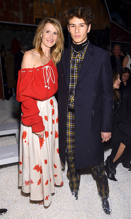 Laura Dern and her handsome son Ellery Walker were at Calvin Klein's Feb. 13 show, too! 