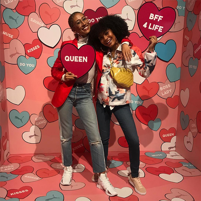 Former editor-in-chief of <em>Teen Vogue</em> Elaine Welteroth and Yara Shahidi posed for Galentine's Day!