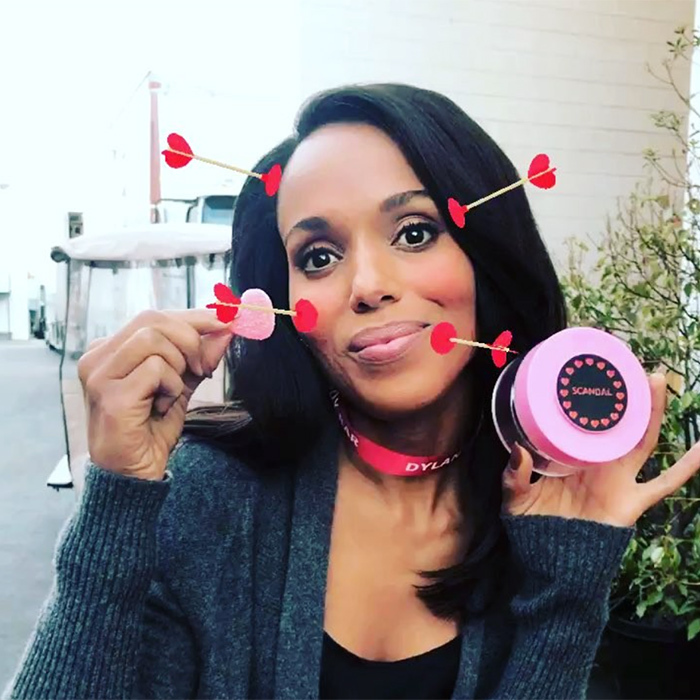 Kerry Washington took advantage of the Valentine's Day Instagram filter and some candy in a post dedicated to her TV show family.