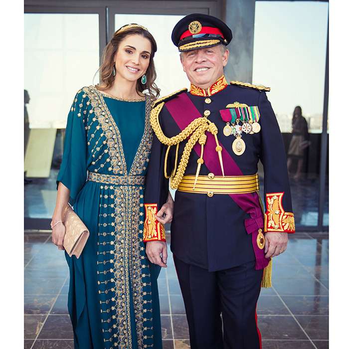 <p>NOW: The Prince ascended the throne in 1999, and the couple became the new King and Queen of Jordan. The royals have four children: Crown Prince Hussein, Princess Salma, Princess Iman and Prince Hashem. Here the couple are seen attending the Great Arab Revolt centennial at Al Rayah parade ground in the Royal Hashemite Court in Amman in June 2016.</p>