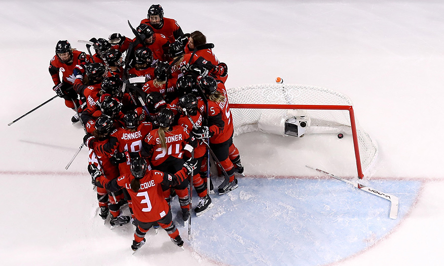 Team Canada congregated for a team hug as they celebrated their big win on Feb. 14!