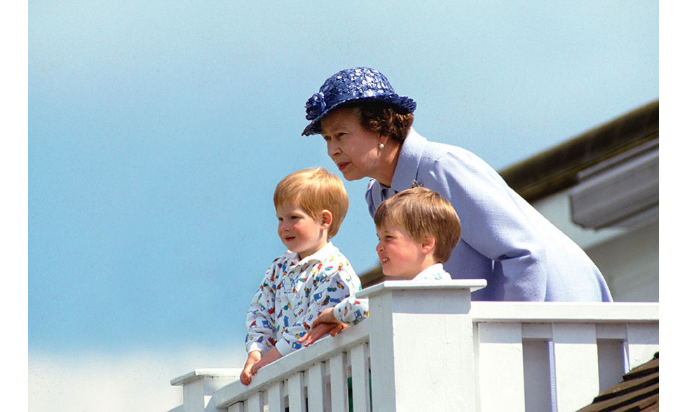 <p>Young Prince William and Prince Harry are the picture of cuteness, seen here in matching outfits during an outing with the Queen.</p>
