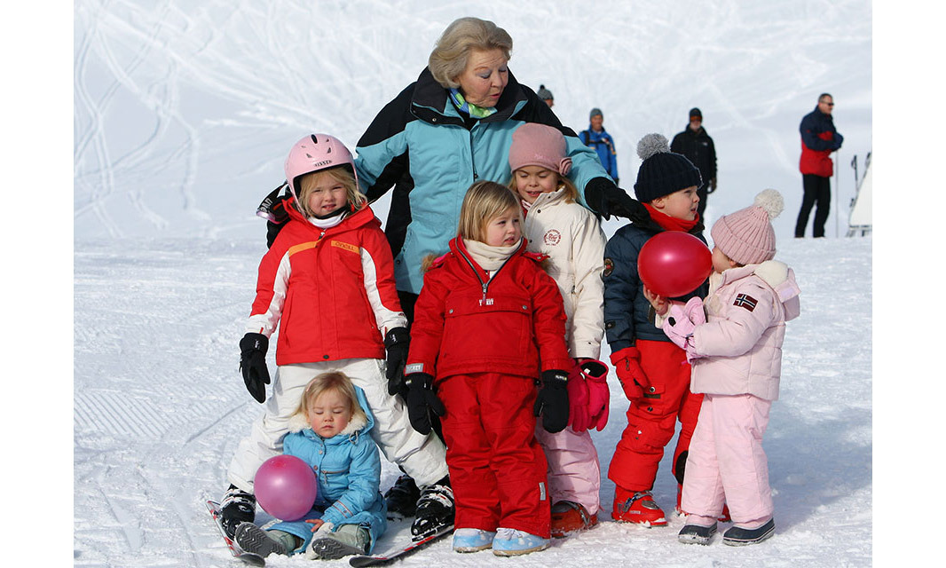 <p>Princess Beatrix of the Netherlands has no shortage of love from her 11 grandchildren. Here she's pictured on a ski break in 2009 with King Willem-Alexander and Queen Maxima's three daughters – Princess Amalia, Princess Alexia and Ariane – and Prince Constantijn and Princess Laurentien's three children – Countess Eloise, Countess Leonore and Count Claus-Casimir of Orange.</p>