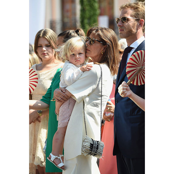 <p>Princess Caroline of Monaco, a doting grandmother of four, cuddles her eldest grandchild – Alexandre Andrea Stefano Casiraghi, also known as Sacha. The little boy's parents are Andrea Casiraghi and Tatiana Santo Domingo.</p>