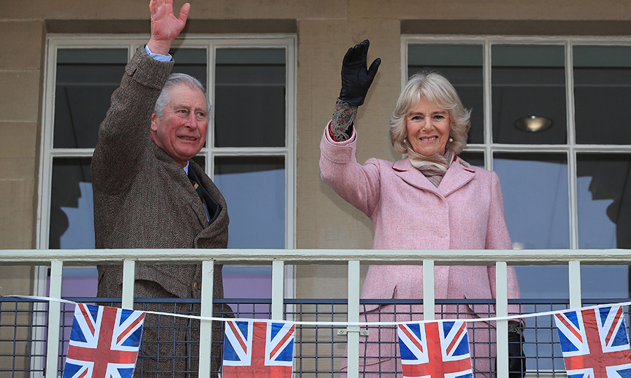 Prince Charles and Camilla, Duchess of Cornwall, waved to the crowd at Piece Hall in Blackledge on Feb. 16.