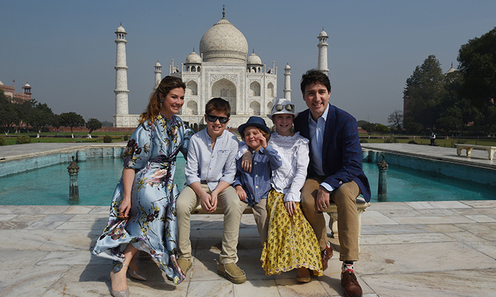 On the first day of their tour, Feb. 18, Justin and Sophie posed at the Taj Mahal with their three children - Xavier, 10, Ella-Grace, 9, and 3-year-old Hadrien, who stole the show on their arrival by running down the red carpet with his dad's flowers.