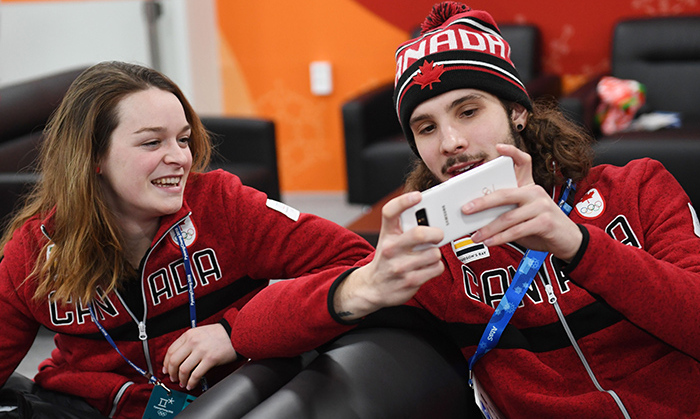 Speed-skating selfie! Bronze medalist Kim Boutin, who nabbed a podium spot for the 1500-metre speed skate, hung out with fellow speed skater and rookie Samuel Girard, who took the gold for the 1000-metre.