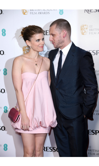 The look of love! Kate Mara and Jamie Bell looked smitten as they attend the BAFTA nominees party at Kensington Palace on February 17 in London.