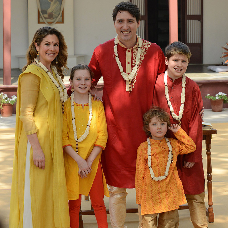 Justin, Sophie and their kids donned traditional Indian clothing for a visit to Gandhi Ashram in Ahmedabad, a former home of Mahatma Gandhi, on Feb. 19. It was here that the independence icon launched his famous 1930 protest march against the British Salt Law.