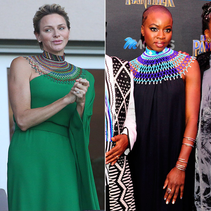 Talk about a regal look! <em>Black Panther</em> star Danai Gurira looked like a true queen at the premiere of the blockbuster hit in Johannesburg, wearing a gown by The Row with a spectacular traditional neckpiece. South African-raised Princess Charlene of Monaco wore a similar look – a green asymmetrical dress with a Zulu necklace – at the IAAF Diamond League Meeting Herculis track and field competition on July 21 in Monaco.