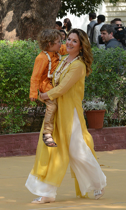 Sophie slipped into a chanderi suit by Indian designer Anita Dongre - who the Duchess of Cambridge also chose to wear while on an official visit to India - while exploring the Gandhi Ashram on the second day of the family's tour in India. She paired the sunny number with Jessica Bedard shoes and Dean Davidson earrings.