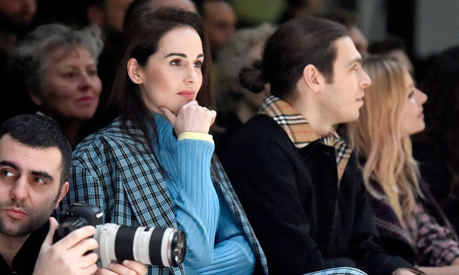 <em>Downton Abbey</em>'s Michelle Dockery looked lovely in blue at the Burberry presentation. 