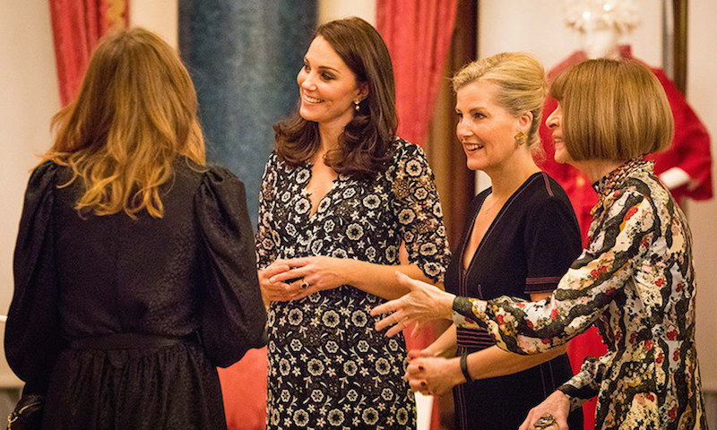 Kate Middleton and Sophie Wessex chatted with Anna Wintour and designer Stella McCartney, left, at a Buckingham Palace reception to celebrate participants from across the Commonwealth's 53 countries in the inaugural Commonwealth Fashion Exchange (CFE). Duchess Kate and Sophie hosted the special event on behalf of Queen Elizabeth on January 19. 