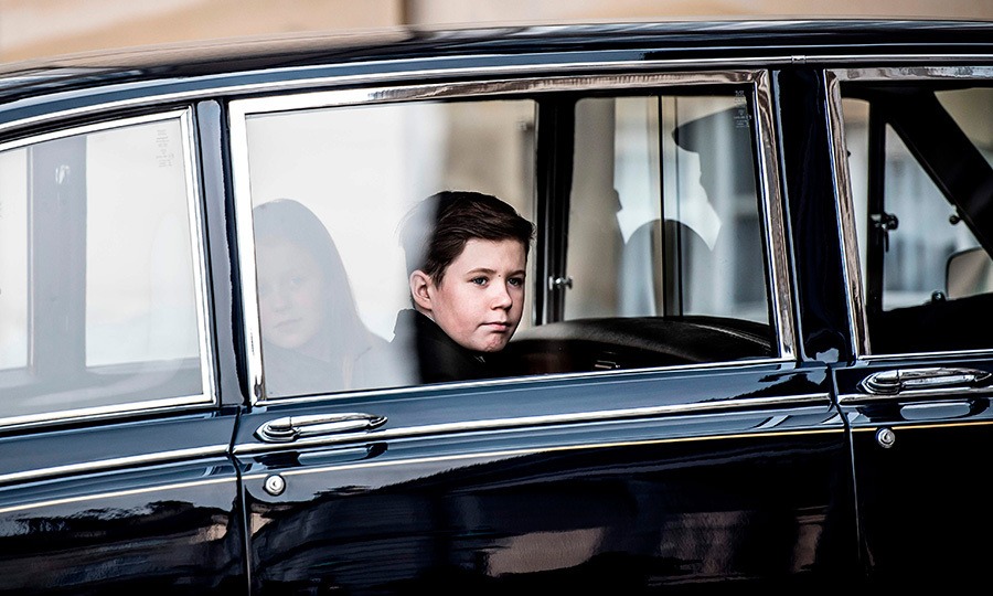 <p>Future King Prince Christian looked solemnly out of the car window as his grandfather's casket arrived at Amalienborg.</p>