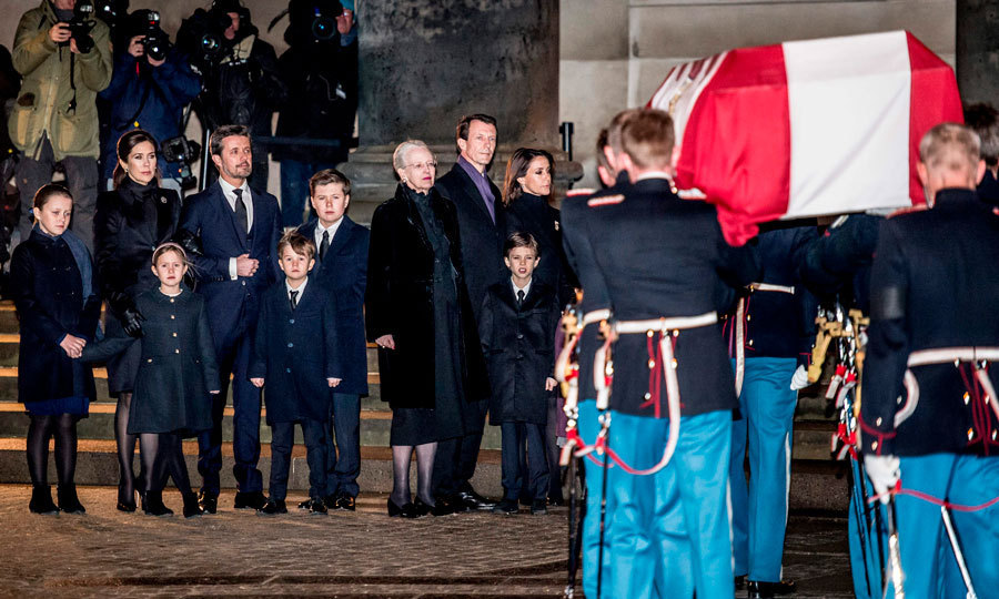 <p>Ahead of the public being able to go pay their respects to Prince Henrik and his family, the Danish royals gathered as they brought his coffin into Castrum Doloris in Christiansborg Palace Church on February 16. Dressed in black, Crown Prince Frederik and Prince Joachim, along with their respective wives — Crown Princess Mary and Princess Marie — and children, stood on either side of their mother Queen Margrethe II.</p>