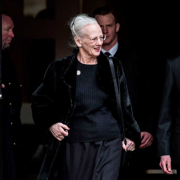 <p>The widowed Queen, dressed in a simple black sweater, was seen leaving Christiansborg Palace Church where her husband will remain until he is laid to rest on February 20.</p>
