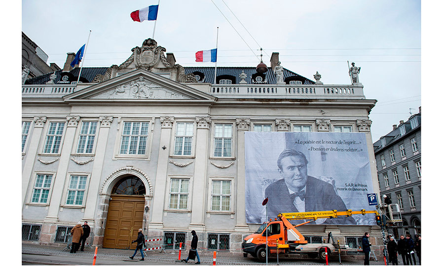<p>A giant portrait of Prince Henrik is seen hanging from the facade of the French Embassy in Copenhagen. Aristocrat Prince Henrik was born Henri Marie Jean André Greve de Laborde de Monpezat on June 11, 1934, in Talence, a suburb of Bordeaux.</p>