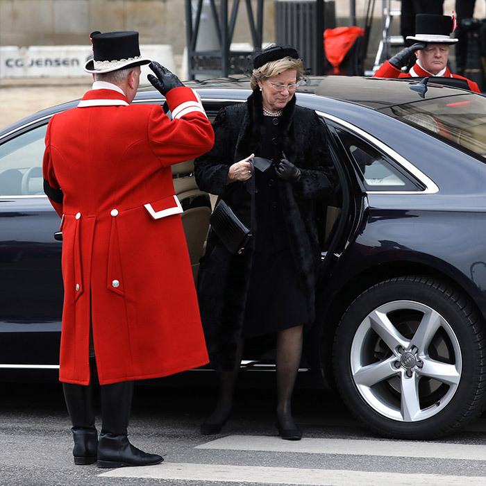 <p>Queen Anne-Marie of Greece and her husband ex-King Constantine (not pictured) also paid their respects in person at the solemn church ceremony. The funeral only included friends and family due to Prince Henrik's wish not to have a state funeral, and was not attended by any foreign members of state.</p>