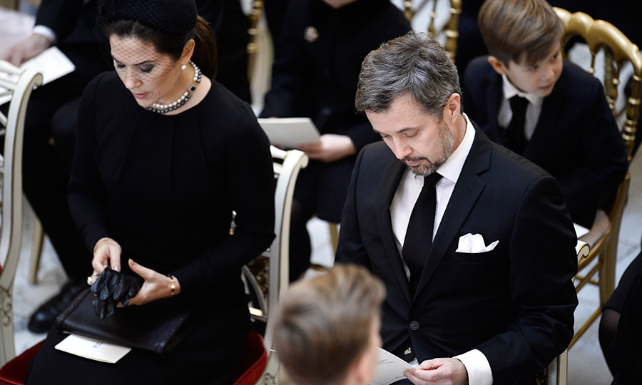 <p>Crown Princess Mary and Crown Prince Frederik are seen during the February 20 service at Christiansborg Palace Chapel in Copenhagen.</p>