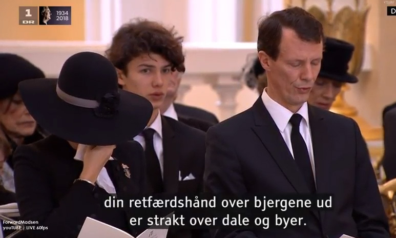 <p>Princess Marie, seated alongside Prince Joachim and in front of stepson Prince Nikolai, who had just returned from modeling for Burberry in London, also became understandably emotional during the service, and was spotted wiping tears from her eyes.</p>