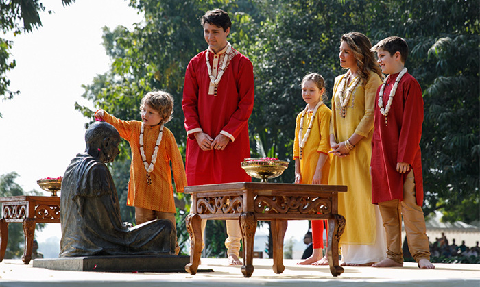 Justin, Sophie and their three children had a serene moment outside the temple, which is located in Gandhinagar. They arrived at Swaminarayan Akshardham after visiting an ashram that used to be home to Mahatma Gandhi.