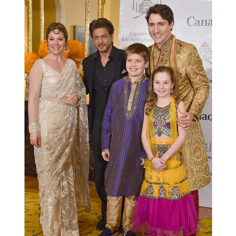 Justin, Sophie, Xavier and Ella-Grace, again clad in traditional Indian attire, posed with Bollywood's biggest star, Shahrukh Khan, at an event in Mumbai on Feb. 20 celebrating India's film industry. Sophie wore a sari while her husband dressed in a traditional sherwani. 