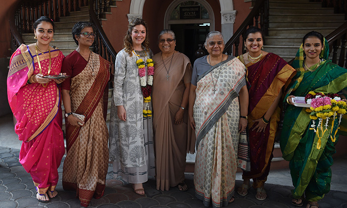 Sophie posed with staff from Sophia College for women as she arrived at the interactive session in Mumbai.