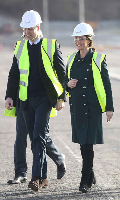 William and Kate visited the Northern Spire, a new bridge over the River Wear, in Sunderland, England on Feb. 21, 2018. We're sure Prince George was thrilled to see his parents looking ready for a construction site in their reflective vests and hard hats! The bridge is still under construction until spring of this year.