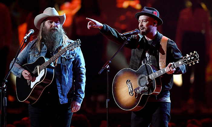 "Hot on the heels of his Super Bowl halftime show extravaganza, Justin Timberlake joined Chris Stapleton at the BRIT Awards, where the duo performed their duet ""Say Something.""