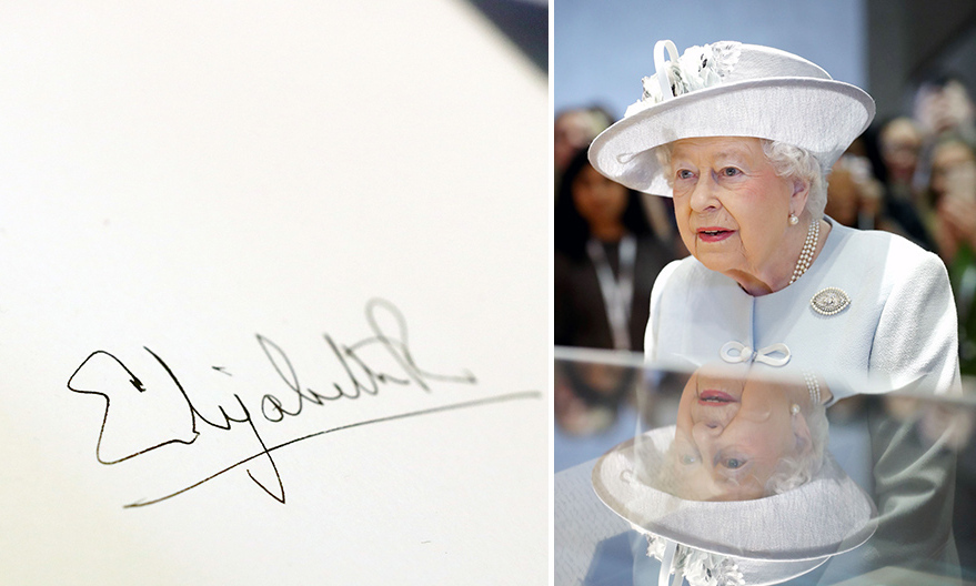 The Queen left her mark at the Royal College Of Physicians in London on Feb. 20, signing the visitors' book with her trademark autograph. The R in 'Elizabeth R', a signature used by both the Queen and Queen Elizabeth I, means regina or queen.