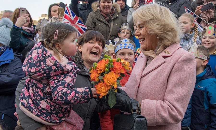 The Duchess of Cornwall had a huge smile for these royal fans as she greeted the crowds during a visit to the Piece Hall in Blackledge, Halifax in the Yorkshire region of England.