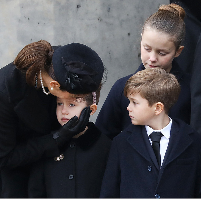 Crown Princess Mary of Denmark comforted daughter Princess Josephine as Josephine's twin brother Vincent and big sister Isabella looked on. The tender family scene took place outside the children's grandfather Prince Henrik's cremation ceremony in Copenhagen on Feb. 20. 