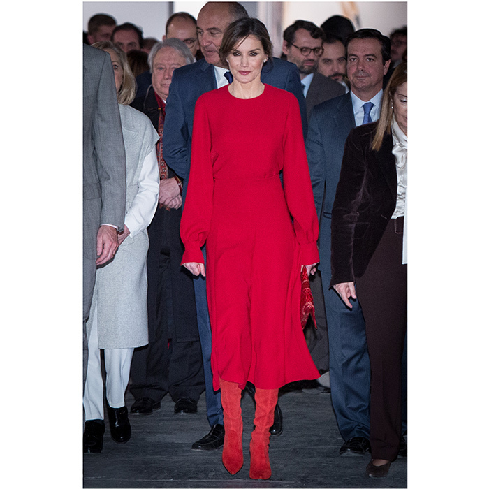 Queen Letizia of Spain stood out from the crowd in her fiery red ensemble at the opening of the ARCO 2018 Contemporary Art Fair in Madrid. 