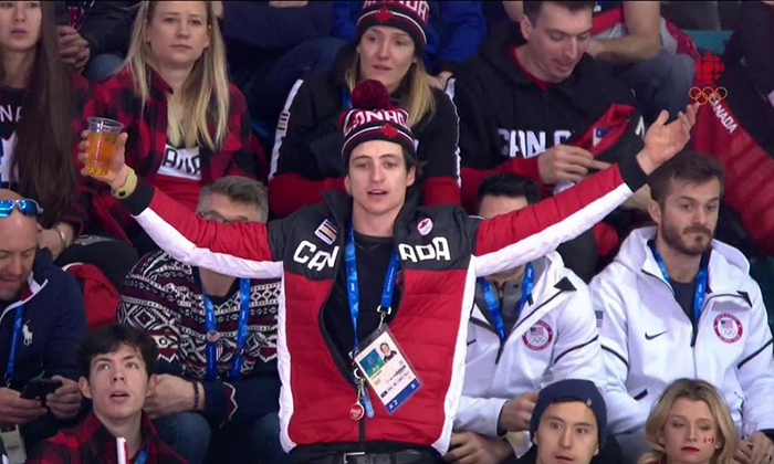 Scott had a truly Canadian moment as he watched the Canada-USA women's hockey game at the Olympics.