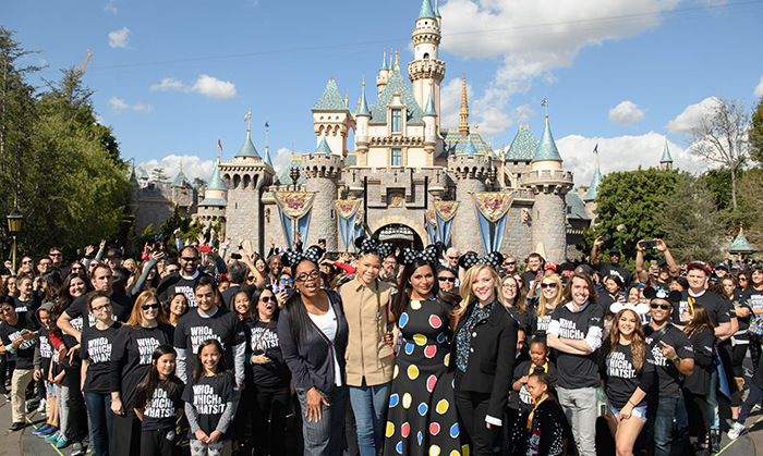 The stars of <em>A Wrinkle In Time</em> - Oprah, Storm Reid, Mindy Kaling and Reese Witherspoon - had fans on the edges of their seats when they surprised the audience at Adventure Park's sneak peek theatre during an exclusive screening of Ava DuVernay's highly anticipate fantasy film! The foursome later posed with fans in front of Sleeping Beauty Castle at Disneyland. 