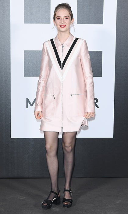 <p>Uma Thurman and Ethan Hawke's daughter Maya Hawke wore a graphic pink zipped dress to the Moncler Genius event.</p>
