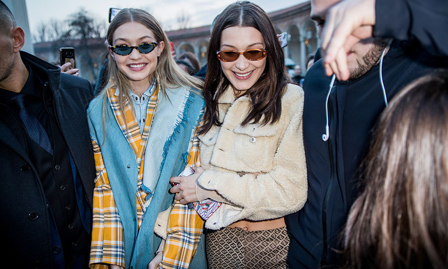 <p>Model siblings Gigi and Bella Hadid were all smiles and wearing 1970s prints outside Alberta Ferretti.</p>