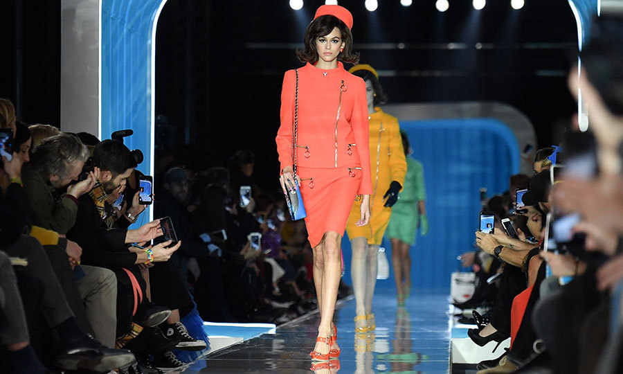 <p>Kaia Gerber channeled her inner Jackie O as she opened the Moschino F/W '18 show. Cindy Crawford's mini-me led throngs of models dressed like the former first lady during the presentation.</p>