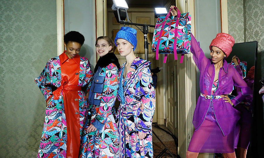 <p>Models showed off Emilio Pucci's iconic prints backstage at the label's presentation.</p>