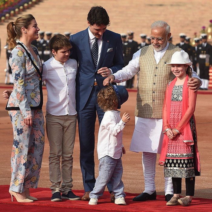 Hadrien, 3, goofed around with India's Prime Minister Narendra Modi during a ceremonial reception at New Delhi's presidential palace on Feb. 23. 