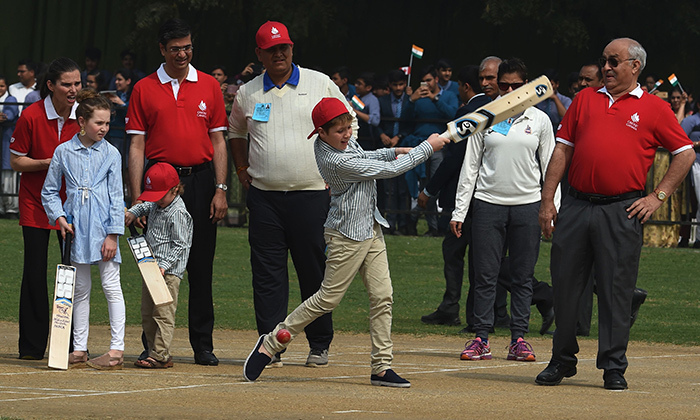 Xavier, 10, tried his hand at India's most popular sport, cricket.
