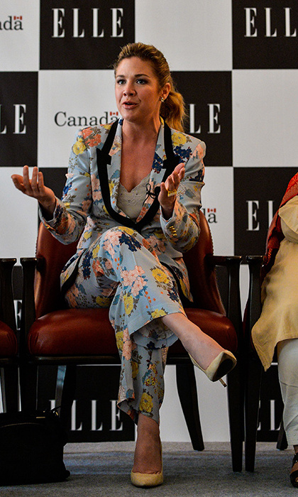 Clad in a beautiful floral pantsuit, Sophie spoke on a topic she's passionate about as part of a panel discussion on the theme 'Women Economic Empowerment in Fashion and Culture' on Feb. 23 in New Delhi. This was organized by the Canadian High Commission and ELLE Magazine.