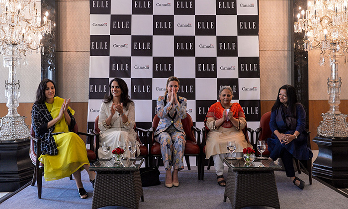 Sophie spoke as part of a panel on the economic advancement for women in fashion and culture alongside, from left: Border & Fall founder Malika Verma Kashyap, Indian fashion designer and Duchess Kate favourite Anita Dongre, Indian social worker and head of SEWA Reema Nanavaty and Shilpa Sharma, co-founder of Jaypore.  