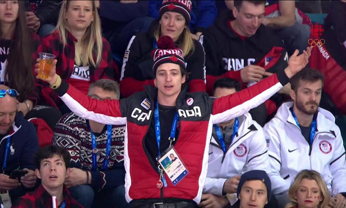 Scott Moir went viral during the women's game for being the ultimate Canadian hockey fan - guzzling beer and heckling the refs. The tense game finally ended in a 3-2 shootout that saw the four-time gold medalists defeated by the USA and taking home the silver medal.