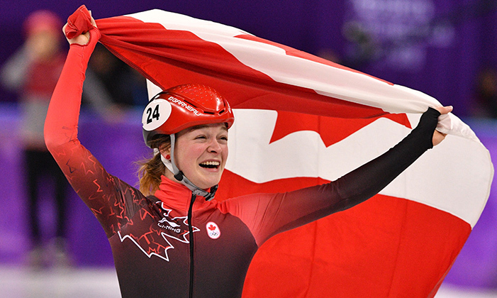 Speedskater Kim Boutin was named the flag bearer for the closing ceremonies. The Olympian made history two times over for being the first female short track speed skater to win three medals in a single game (silver in the 1,000 metres and bronze in both the 500 and 1,500) as well as the first Canadian woman ever to win a medal in the 1,500. 