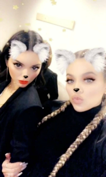 Kendall and Khloe posed backstage with their koala game faces on.
